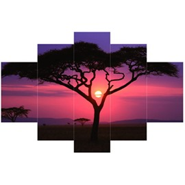 Tree in Red Sunset Hanging 5-Piece Canvas Eco-friendly and Waterproof Non-framed Prints