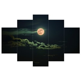 Moon Hung in Black Sky Hanging 5-Piece Canvas Eco-friendly and Waterproof Non-framed Prints