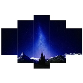 Blue Night Sky Hanging 5-Piece Canvas Eco-friendly and Waterproof Non-framed Prints