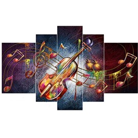 Guitar and Musical Notes Hanging 5-Piece Canvas Eco-friendly and Waterproof Non-framed Prints