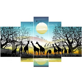 Deer in Forest and Moon Sky Hanging 5-Piece Canvas Waterproof Non-framed Prints
