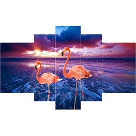 Two Flamingos and Blue Sea Hanging 5-Piece Canvas Eco-friendly and Waterproof Non-framed Prints