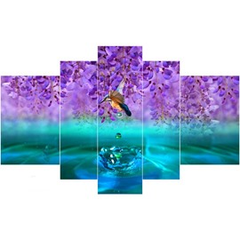 Purple Flowers and Bird on Lake Hanging 5-Piece Canvas Waterproof Non-framed Prints