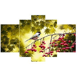 Bird Standing on Cherry Branches Hanging 5-Piece Canvas Eco-friendly and Waterproof Non-framed Prints