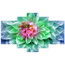 Green Flowers and Bee Hanging 5-Piece Canvas Eco-friendly and Waterproof Non-framed Prints