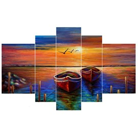 Boat Moored beside Lake Hanging 5-Piece Canvas Eco-friendly and Waterproof Non-framed Prints