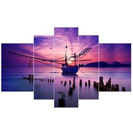 Boat and Lake in Purple Sunset Hanging 5-Piece Canvas Waterproof Non-framed Prints