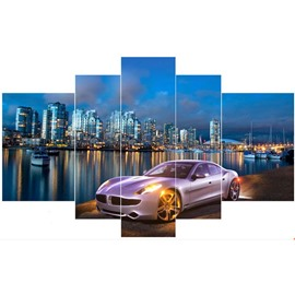 Car and Buildings beside Lake Hanging 5-Piece Canvas Eco-friendly and Waterproof Non-framed Prints