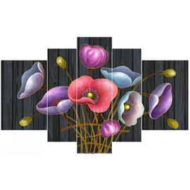 Colorful Flowers Hanging 5-Piece Canvas Eco-friendly and Waterproof Non-framed Prints