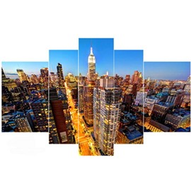 Architectures in Night Lighting Hanging 5-Piece Canvas Eco-friendly and Waterproof Non-framed Prints