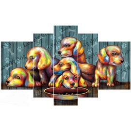 Dogs Hanging 5-Piece Canvas Eco-friendly and Waterproof Non-framed Prints