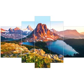 Snow Mountains Surrounded by Lake Hanging 5-Piece Canvas Eco-friendly and Waterproof Non-framed Prints