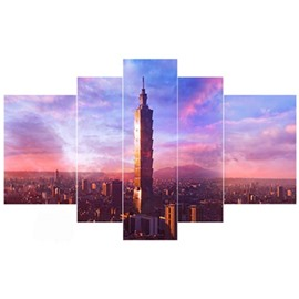Architectures in Sunset Glow Hanging 5-Piece Canvas Eco-friendly and Waterproof Non-framed Prints