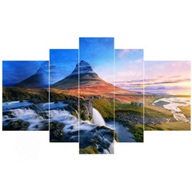 Mountains and Grassland Hanging 5-Piece Canvas Eco-friendly and Waterproof Non-framed Prints