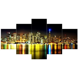 Buildings and Lake in City Night Hanging 5-Piece Canvas Waterproof Non-framed Prints
