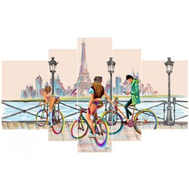 Tower and Teenagers Running Bicycles beside Lake Hanging 5-Piece Canvas Waterproof Non-framed Prints