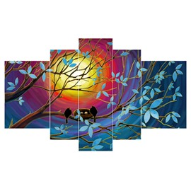 Sun and Birds Standing on Branches Hanging 5-Piece Canvas Waterproof Non-framed Prints