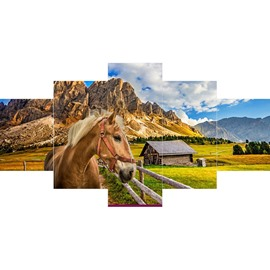Mountains and Horse on Prairie Hanging 5-Piece Canvas Eco-friendly and Waterproof Non-framed Prints