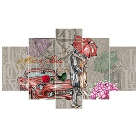 Couple Embracing before Car Hanging 5-Piece Canvas Eco-friendly and Waterproof Non-framed Prints