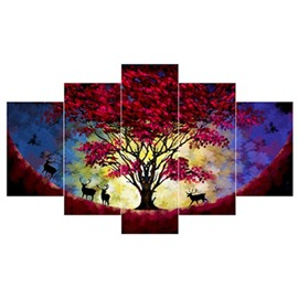 Red Leaves in Tree and Deer Hanging 5-Piece Canvas Waterproof Non-framed Prints