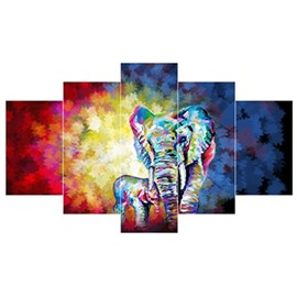 Elephant and Colorful Background Hanging 5-Piece Canvas Waterproof Non-framed Wall Prints