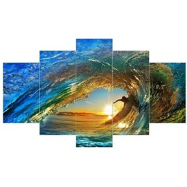 Sunrise and Boy in Tide Hanging 5-Piece Canvas Eco-friendly and Waterproof Non-framed Prints