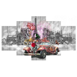Car and Architectures Hanging 5-Piece Canvas Waterproof and Eco-friendly Non-framed Wall Prints