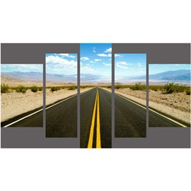 Straight Road in Blue Sky Hanging 5-Piece Canvas Eco-friendly and Waterproof Non-framed Prints