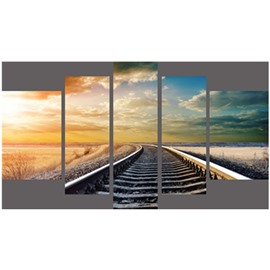 Track in Sunrise Hanging 5-Piece Canvas Eco-friendly and Waterproof Non-framed Prints