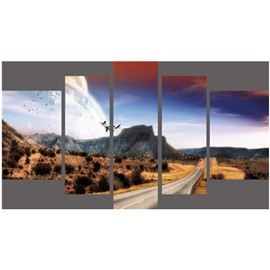 Mountain and Field Hanging 5-Piece Canvas Eco-friendly and Waterproof Non-framed Prints