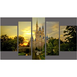 Green Trees Surrounding Castle Hanging 5-Piece Canvas Eco-friendly and Waterproof Non-framed Prints