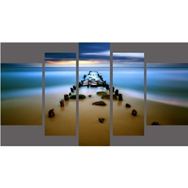 Beach and Stone Path Hanging 5-Piece Canvas Eco-friendly and Waterproof Non-framed Prints