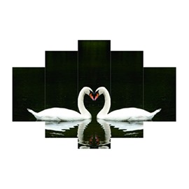 White Swans Hanging 5-Piece Canvas Eco-friendly and Waterproof Black Non-framed Prints