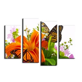 Yellow Lily and Butterflies Hanging 4-Piece Canvas Waterproof and Eco-friendly Non-framed Prints