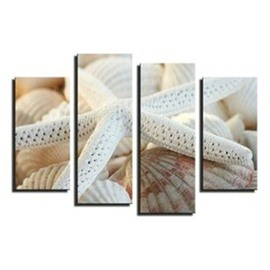 White Starfish Hanging 4-Piece Canvas Waterproof and Eco-friendly Non-framed Prints