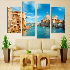 Blue Water City Hanging 4-Piece Canvas Waterproof and Eco-friendly Non-framed Prints