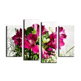 Red Flowers Hanging 4-Piece Canvas Waterproof and Eco-friendly Non-framed Prints