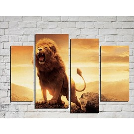 Brown Roaring Lion Hanging 4-Piece Canvas Waterproof and Eco-friendly Non-framed Prints