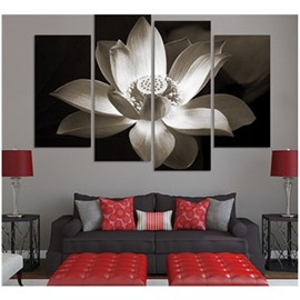 White Lotus Hanging 4-Piece Canvas Waterproof and Eco-friendly Non-framed Prints