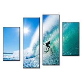 Surfing on Blue Sea Hanging 4-Piece Canvas Waterproof and Eco-friendly Non-framed Prints