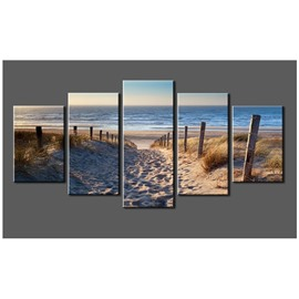 Blue Sea and Beach Hanging 5-Piece Canvas Eco-friendly and Waterproof Non-framed Prints