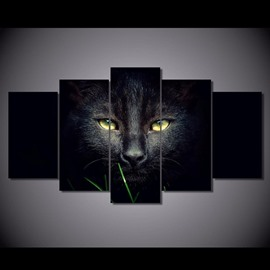 Black Cat Eyes Hanging 5-Piece Canvas Eco-friendly and Waterproof Non-framed Prints