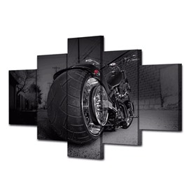 Black Motorcycle Pattern Hanging 5-Piece Canvas Eco-friendly and Waterproof Non-framed Prints