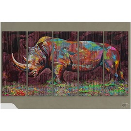 Colorful Rhinoceros Oil Painting Pattern Hanging 5-Piece Canvas Eco-friendly and Waterproof Non-framed Prints