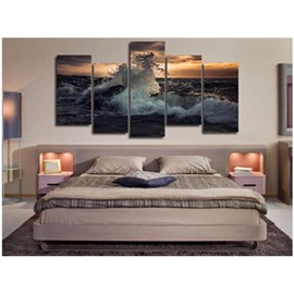 Wave in Sunset Hanging 5-Piece Canvas Eco-friendly and Waterproof Non-framed Prints