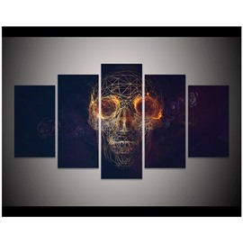 Skull Head Hanging 5-Piece Canvas Eco-friendly and Waterproof Black Non-framed Prints