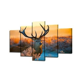 Deer in Sunset Hanging 5-Piece Canvas Eco-friendly and Waterproof Non-framed Prints