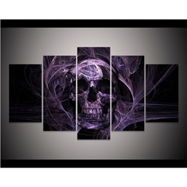 Purple Smoke Surrounding Skull Head Hanging 5-Piece Canvas Eco-friendly and Waterproof Non-framed Prints