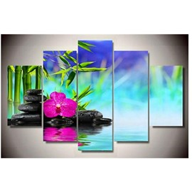 Bamboo Flower and Stones Hanging 5-Piece Canvas Eco-friendly and Waterproof Non-framed Prints