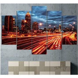 Yellow Lighting and Buildings Hanging 5-Piece Canvas Eco-friendly and Waterproof Non-framed Prints